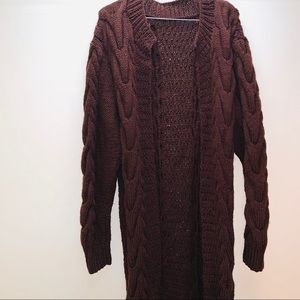 Boho knit long cardigan